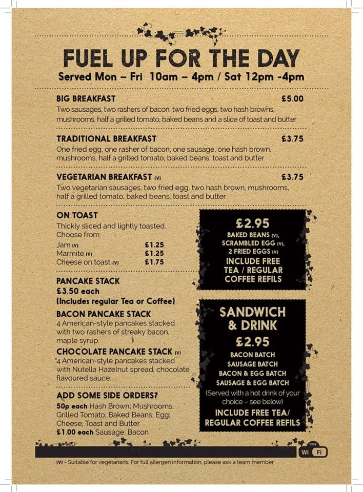 Ivy House Breakfast Menu
